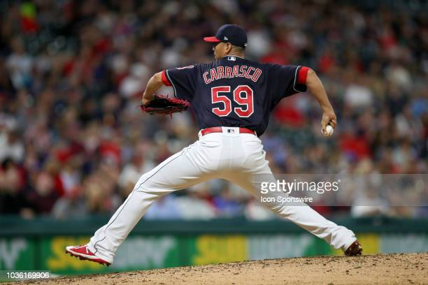 Cleveland Indians starting pitcher Carlos Carrasco delivers a pitch to the plate during the fourth inning of the Major League Baseball game between...