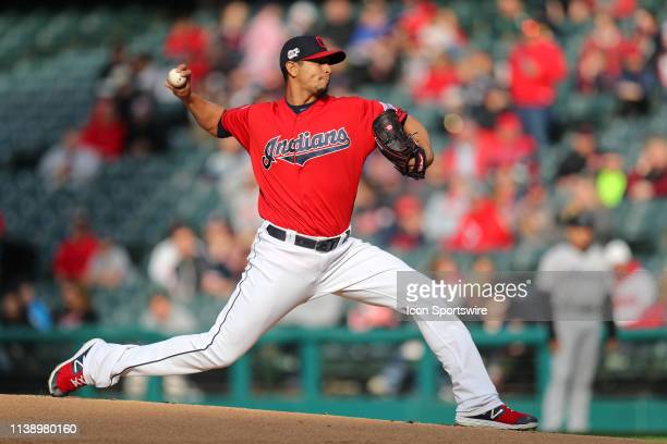 Cleveland Indians starting pitcher Carlos Carrasco delivers a pitch to the plate during the first inning of the Major League Baseball interleague...