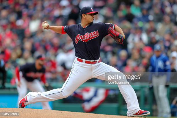 Cleveland Indians starting pitcher Carlos Carrasco delivers a pitch to the plate during the first inning of the Major League Baseball home opener...