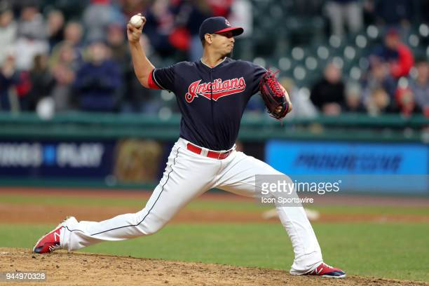 Cleveland Indians starting pitcher Carlos Carrasco delivers a pitch to the plate during the ninth inning of the Major League Baseball game between...