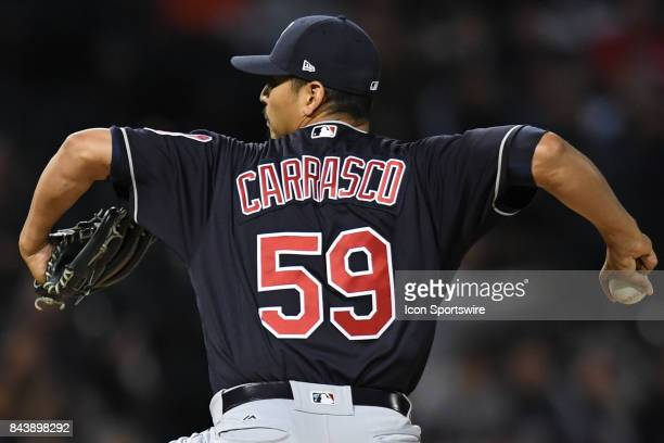 Cleveland Indians starting pitcher Carlos Carrasco pitches during a game between the Cleveland Indians and the Chicago White Sox on September 6 at...