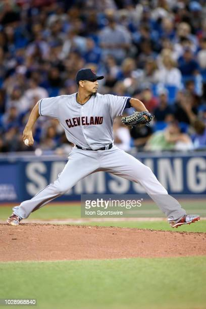 Cleveland Indians Starting pitcher Carlos Carrasco throws a pitch during the MLB regular season game between the Toronto Blue Jays and the Cleveland...