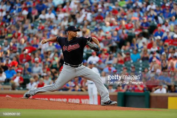 Cleveland Indians starting pitcher Carlos Carrasco throws in the bottom of the first as the Cleveland Indians play the Texas Rangers in Arlington...