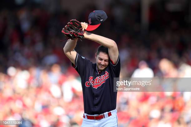 Cleveland Indians starting pitcher Trevor Bauer composes himself on the mound during the seventh inning of the American League Divisional Series Game...