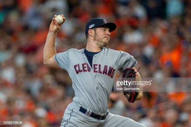 Cleveland Indians starting pitcher Trevor Bauer delivers the pitch in the seventh inning during game 1 of the ALDS between the Houston Astros and the...