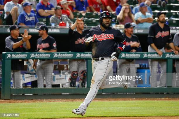 Cleveland Indians Third base Yandy Diaz comes in to score a run in the 9th inning of the MLB opening day baseball game between the Texas Rangers and...