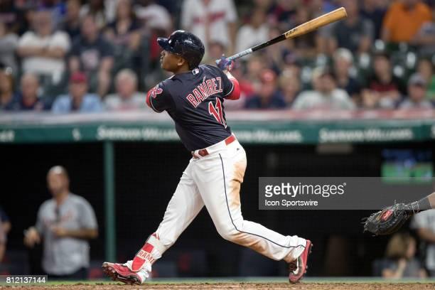 Cleveland Indians third baseman Jose Ramirez belts a 2 run home run during the seventh inning of the the Major League Baseball game between the...