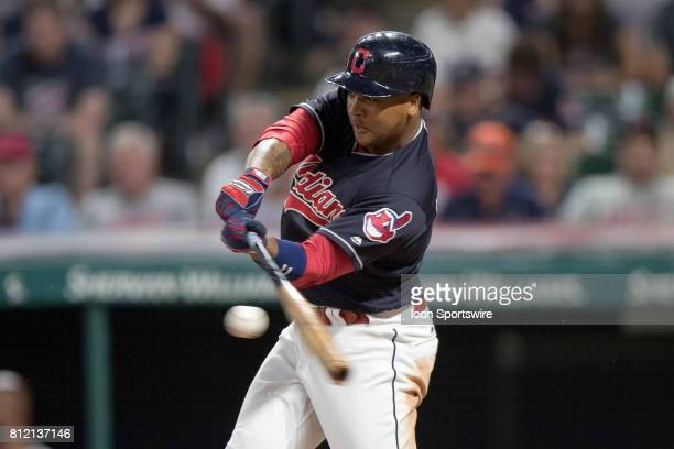Cleveland Indians third baseman Jose Ramirez fouls off a pitch during the seventh inning of the the Major League Baseball game between the Detroit...