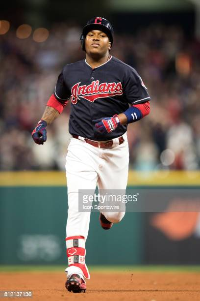 Cleveland Indians third baseman Jose Ramirez rounds the bases after hitting a 2 run home run during the seventh inning of the the Major League...