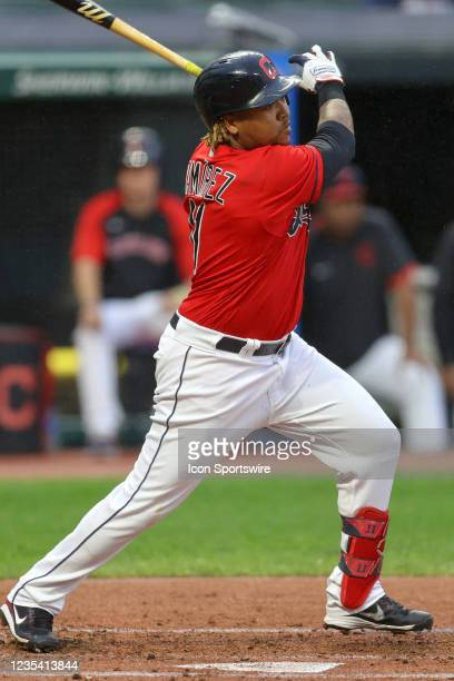 Cleveland Indians third baseman Jose Ramirez singles during the first inning of the the Major League Baseball game between the Kansas City Royals and...