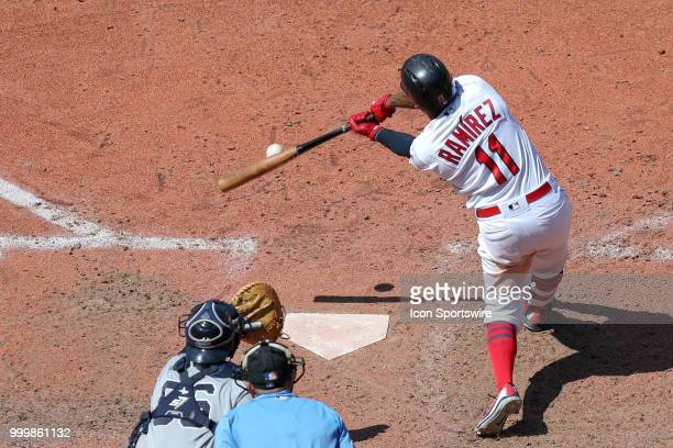 Cleveland Indians third baseman Jose Ramirez singles to center during the eighth inning of the Major League Baseball game between the New York...