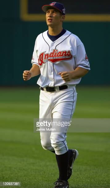 Cleveland Indians' top prospect Grady Sizemore warms up before his first major league game Wednesday July 21 in Cleveland