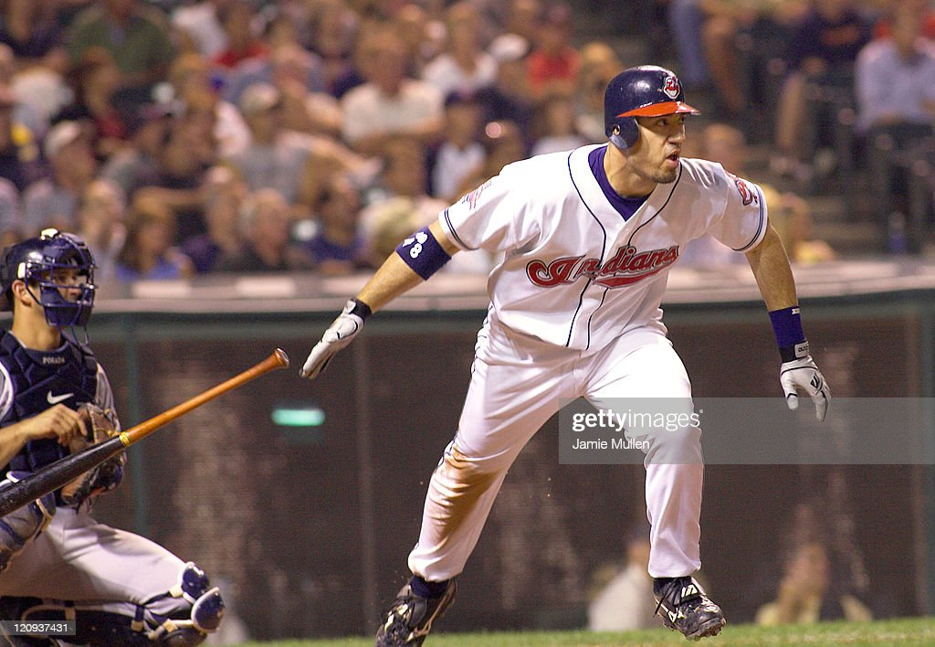 Cleveland Indians' Travis Hafner hits a double in the bottom of the eighth inning during their game against the New York Yankees Monday August 23, 2004 in Jacobs Field in Cleveland, Ohio. The Yankees won the game 6-4.