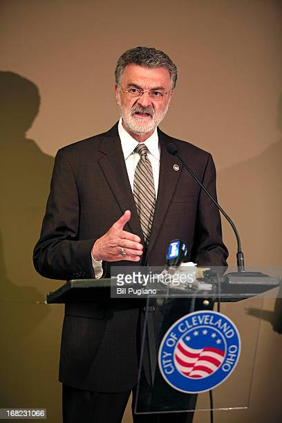 Cleveland Mayor Frank Jackson speaks at a press conference to discuss the three women who were found alive in the same home in Cleveland yesterday...
