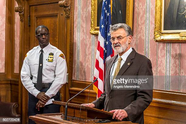 Cleveland Mayor Frank Jackson speaks to reporters in the Mayor's Conference Room at City Hall on Decmeber 28 2015 in Cleveland Ohio Earlier that day...