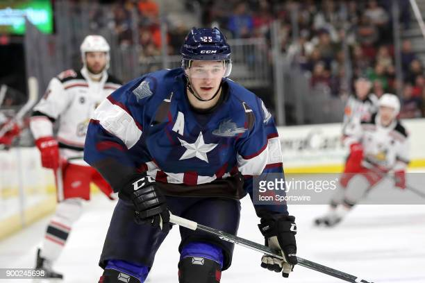 Cleveland Monsters center Alex Broadhurst follows the puck into the corner during the second period of the American Hockey League game between the...
