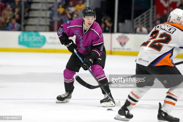 Cleveland Monsters center Alexandre Texier controls the puck during the second period of the American Hockey League game between the Lehigh Valley...