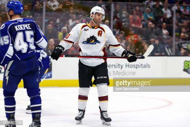 Cleveland Monsters center Justin Scott reacts after missing on a shot during the third period of the American Hockey League game between the Syracuse...