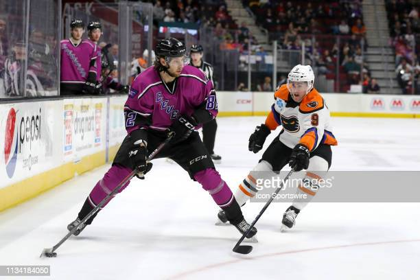 Cleveland Monsters center Kevin Stenlund controls the puck as Lehigh Valley Phantoms center Cole Bardreau defends during the second period of the...