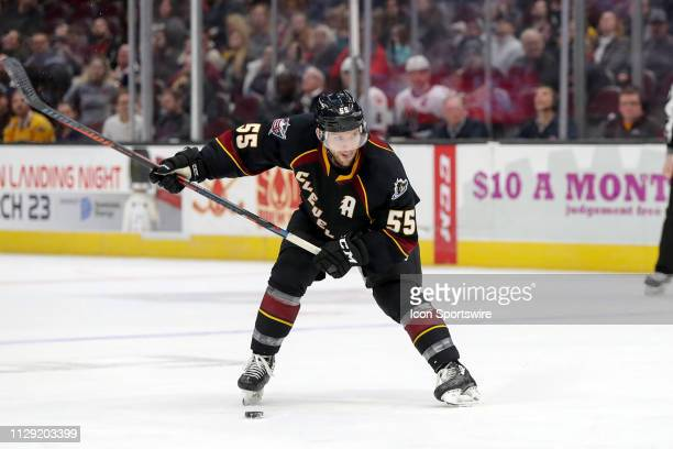 Cleveland Monsters center Mark Letestu prepares to shoot during the second period of the American Hockey League game between the Belleville Senators...