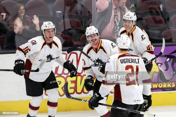 Cleveland Monsters center Miles Koules Cleveland Monsters center Sam Vigneault and Cleveland Monsters defenceman Dean Kukan celebrate with Cleveland...