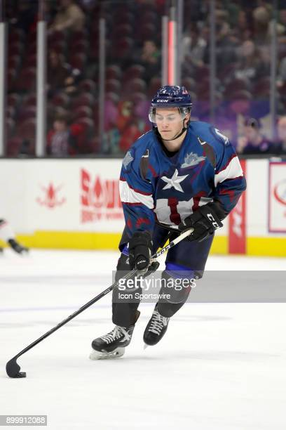 Cleveland Monsters defenceman Blake Siebenaler on the ice for warmups wearing a special Marvel Superhero Jersey prior to the American Hockey League...