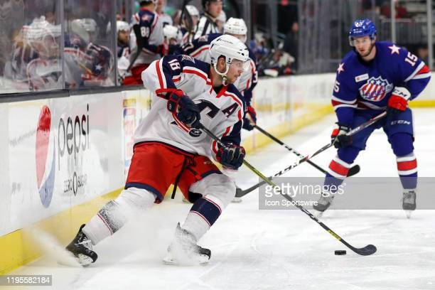 Cleveland Monsters defenceman Dillon Simpson controls the puck during the second period of the American Hockey League game between the Rochester...