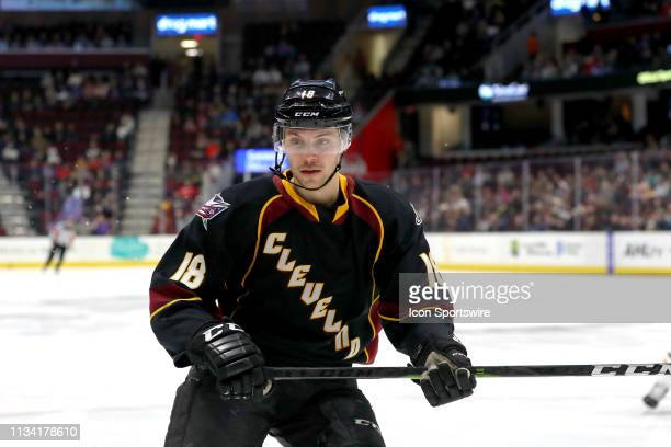 Cleveland Monsters defenceman Dillon Simpson on the ice during the first period of the American Hockey League game between the Lehigh Valley Phantoms...