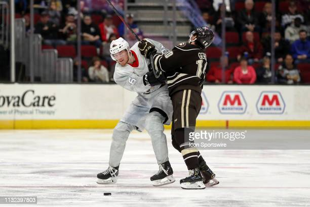 Cleveland Monsters defenceman Ryan Collins is checked by Hershey Bears left wing Shane Gersich after making a pass during the second period of the...