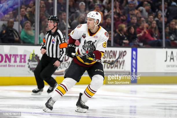 Cleveland Monsters defenceman Ryan Collins on the ice during the second period of the American Hockey League game between the Chicago Wolves and...
