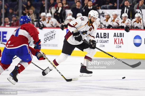 Cleveland Monsters defenceman Tommy Cross croses the blue line in control of the puck during the Cleveland Monsters versus the Laval Rocket game on...