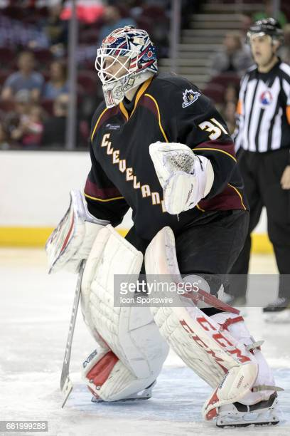 Cleveland Monsters G Anton Forsberg during the third period of the AHL hockey game between the Charlotte Checkers and Cleveland Monsters on March 30...