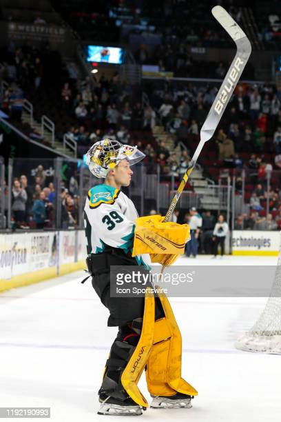 Cleveland Monsters goalie Brad Thiessen is introduced as the third star of the game following the American Hockey League game between the Milwaukee...