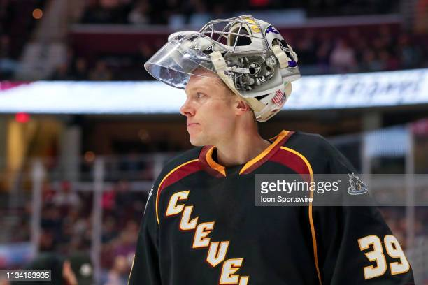 Cleveland Monsters goalie Brad Thiessen on the ice during the third period of the American Hockey League game between the Lehigh Valley Phantoms and...
