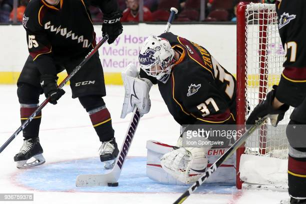 Cleveland Monsters goalie Jeff Zatkoff controls the puck during the third period of the American Hockey League game between the Chicago Wolves and...