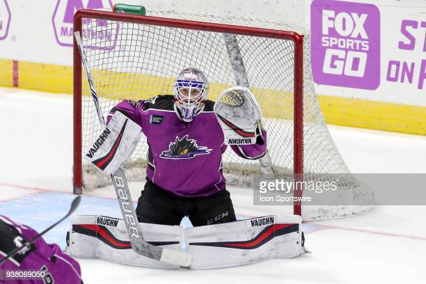 Cleveland Monsters goalie Matiss Kivlenieks in goal during overtime of the American Hockey League game between the San Diego Gulls and Cleveland...