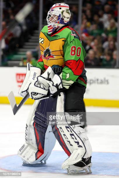 Cleveland Monsters goalie Matiss Kivlenieks in goal during the first period of the American Hockey League game between the Rochester Americans and...