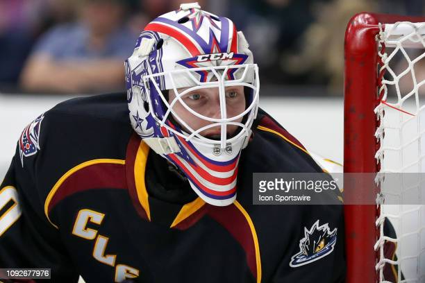 Cleveland Monsters goalie Matiss Kivlenieks in goal during the first period of the American Hockey League game between the Chicago Wolves and...