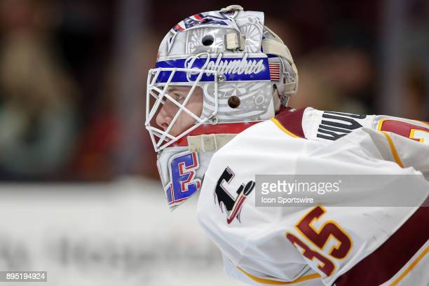 Cleveland Monsters goalie Matiss Kivlenieks in goal during the first period of the American Hockey League game between the Iowa Wild and Cleveland...