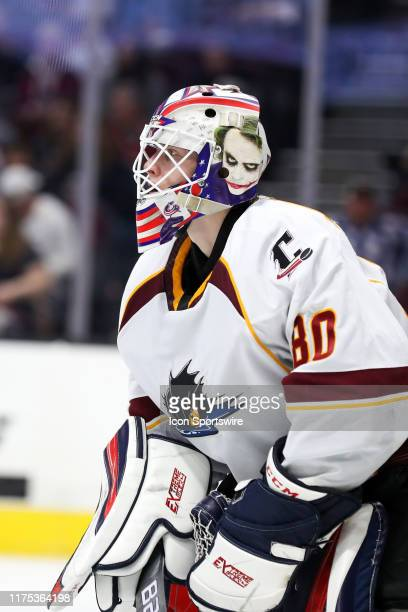 Cleveland Monsters goalie Matiss Kivlenieks in goal during the third period of the American Hockey League game between the Syracuse Crunch and...