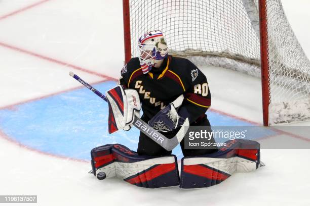Cleveland Monsters goalie Matiss Kivlenieks makes a pad save during the second period of the American Hockey League game between the Toronto Marlies...