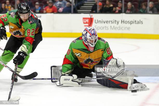 Cleveland Monsters goalie Matiss Kivlenieks makes a skate save during the third period of the American Hockey League game between the Rochester...