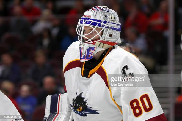Cleveland Monsters goalie Matiss Kivlenieks on the ice during the first period the American Hockey League game between the Toronto Marlies and...