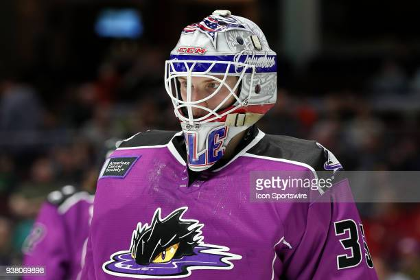 Cleveland Monsters goalie Matiss Kivlenieks on the ice during the first period of the American Hockey League game between the San Diego Gulls and...