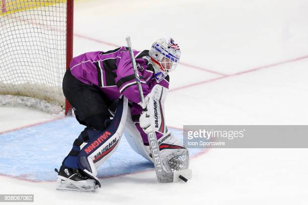 Cleveland Monsters goalie Matiss Kivlenieks stops the puck during the third period of the American Hockey League game between the San Diego Gulls and...