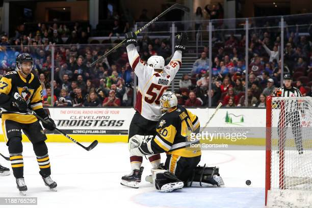 Cleveland Monsters left wing Marko Dano celebrates after a shot by Cleveland Monsters defenceman Dillon Simpson got past Wilkes-Barre/Scranton...