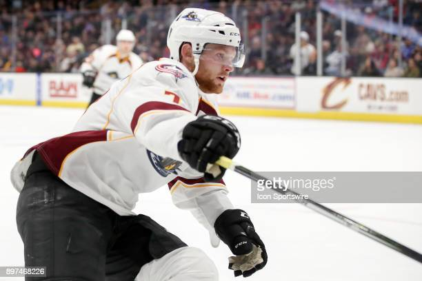 Cleveland Monsters left wing Nick Moutrey during the second period of the American Hockey League game between the Milwaukee Admirals and Cleveland...