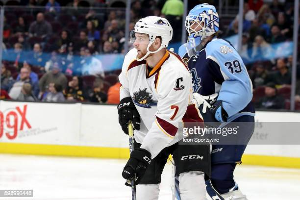Cleveland Monsters left wing Nick Moutrey looks for a pass during the second period of the American Hockey League game between the Milwaukee Admirals...