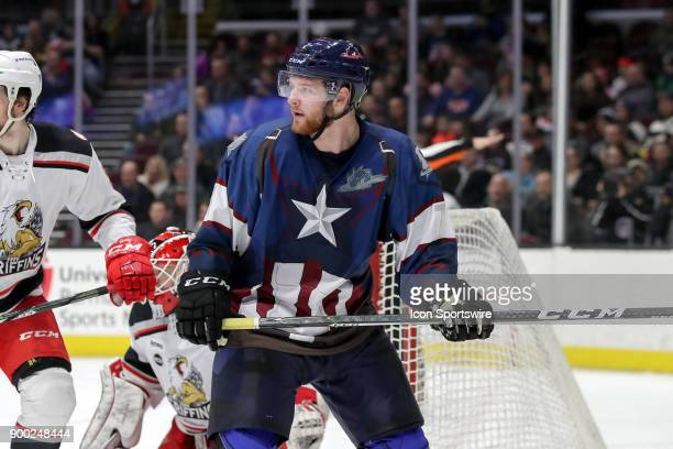 Cleveland Monsters left wing Nick Moutrey on the ice during the second period of the American Hockey League game between the Grand Rapids Griffins...