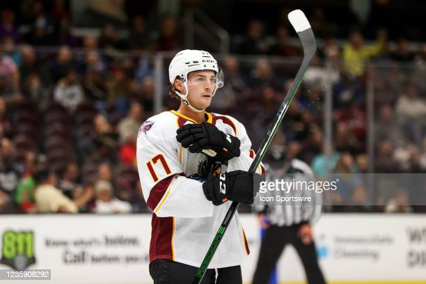 Cleveland Monsters right wing Carson Meyer on the ice during the third period of the American Hockey League game between the Syracuse Crunch and...